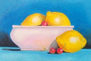 éNergique Peinture Originale, Acrylique Peinture De Citrons Et Cerises-afficher Le Titre D'origine Mode Attrayante