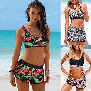 Damen Badeanzug Tankini Bikini Set Bademode Sports Boxershorts Schwimmkleidung