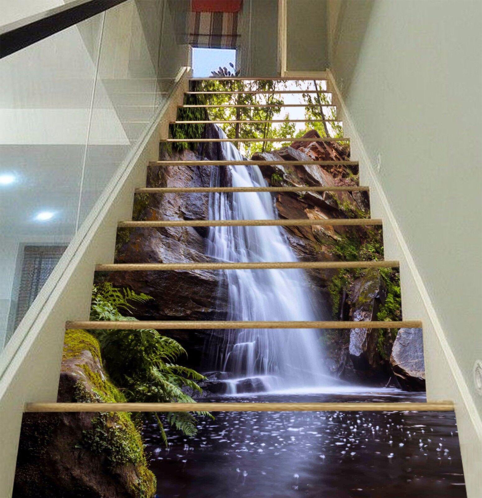 3D Cascade 200 escaliers contremarches Décoration Photo Murale Autocollant Vinyle Papier Peint US