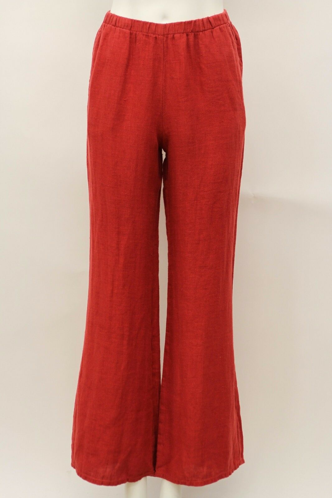 FLAX SELECT LINEN StiefelLEG IT LONG WIDE LEG FLARE PANT rot CHERRY TWILL SMALL
