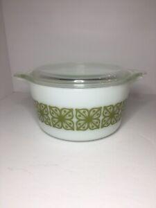 Pyrex Green Square Flowers 1 Quart Bowl #473 with 470-C Lid Vintage 1960s