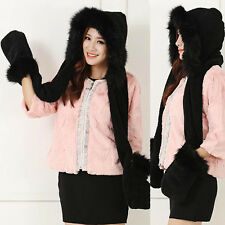 e818d574e87 FAUX FOX FUR Winter Warm Ski HAT HOOD hats with scarf and mittens attached  Glove