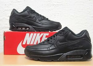 Nike-Air-Max-90-Mens-Size-13-Triple-Black-Leather-Essential-Sneakers-302519-001