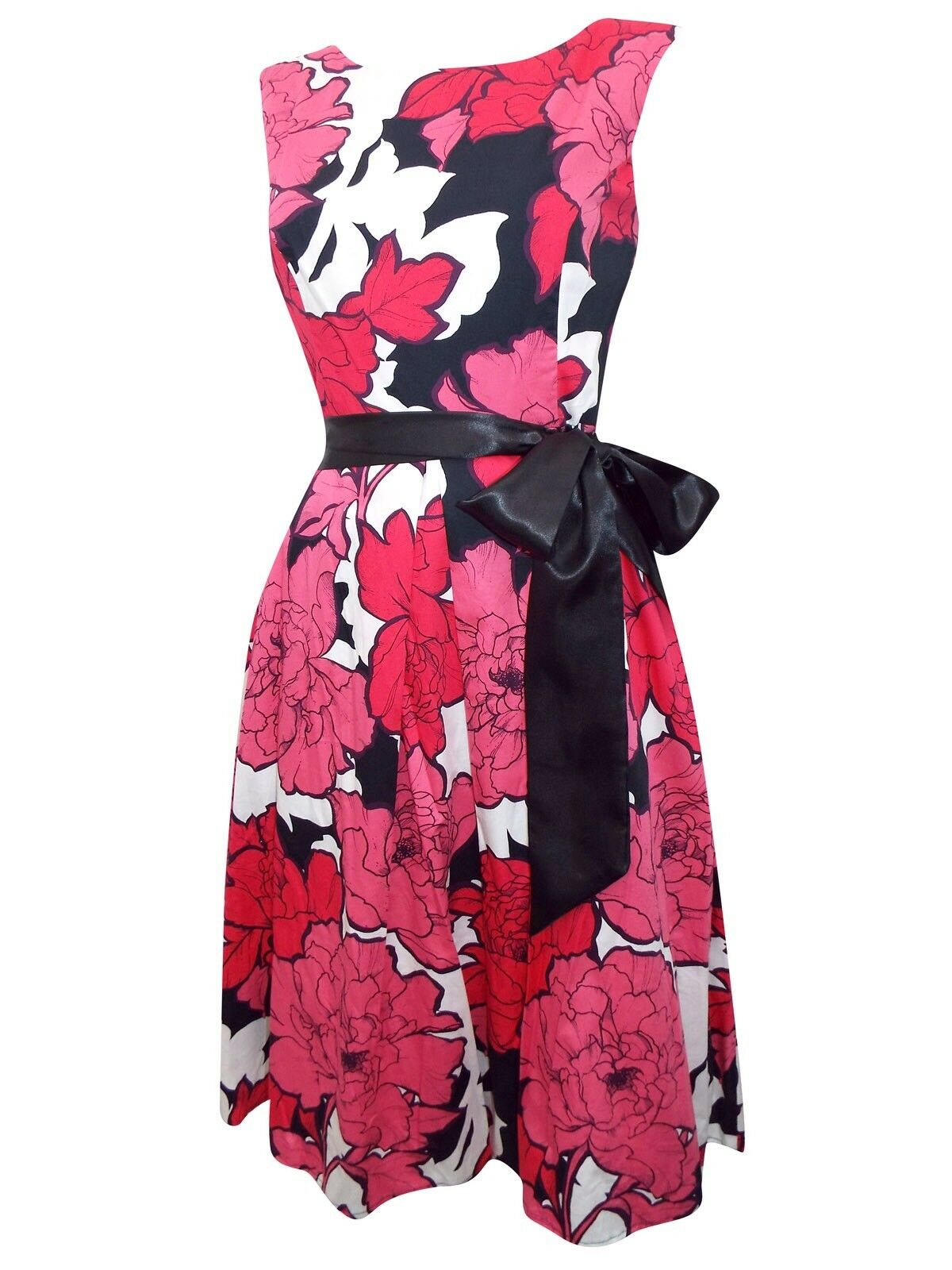 DEBENHAMS TEA DRESS PROM SUMMER RETRO 50'S PINK FLORAL DRESS SIZE 8