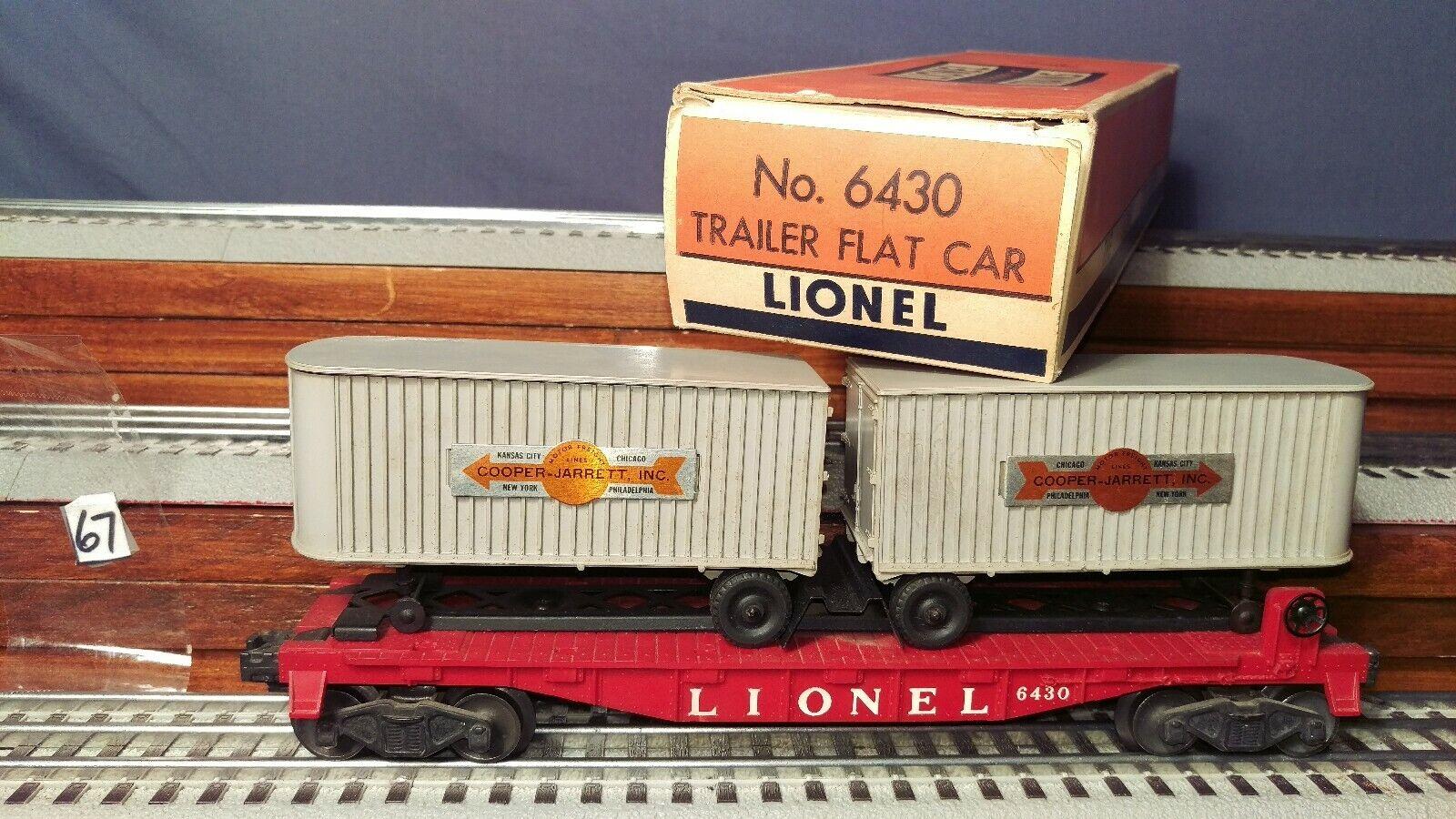 gran selección y entrega rápida Coche Lionel Lionel Lionel 6430 Remolque Plana Con gris Cooper Jarret remolques, y Caja Original  barato en línea