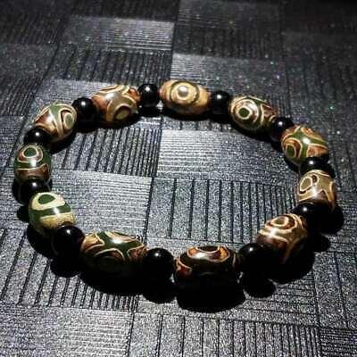 "Antique old Cinnabar agate old tibetan dzi bead prayer Pendant /""3 eyes A18"