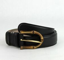 $480 New Gucci Women's Black Leather Belt with Bamboo Buckle 90/36 322954 1000
