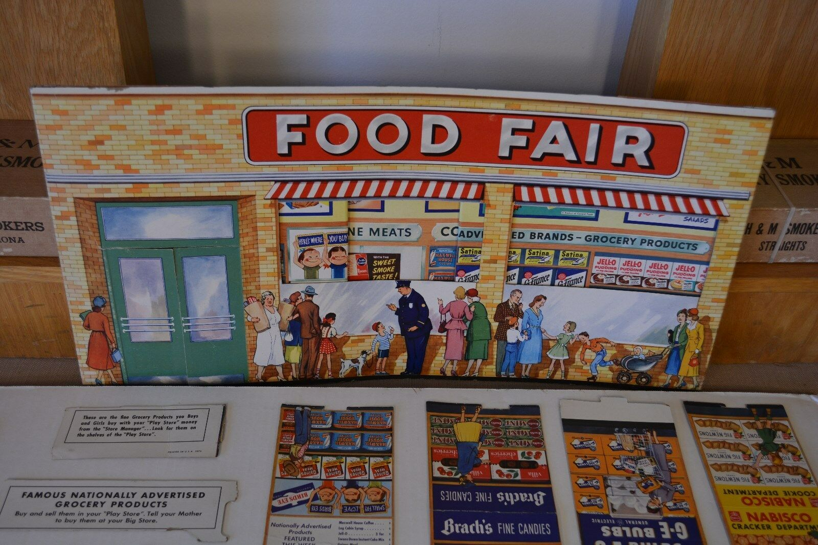 Vintage Original Ideal Art Deco Supermarket 1950s Display, early Adverdeising Ads