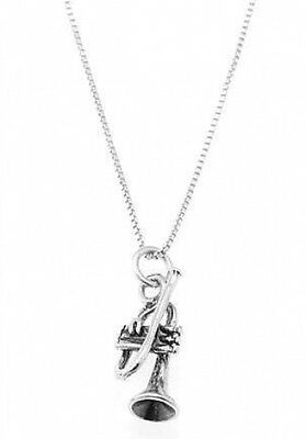 Flute Pendant Necklace Sterling Silver Musical Instrument 18 Inch Box Chain