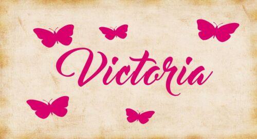 Personalised Name Butterfly Wall Art Girls//Kids Bedroom,Custom Vinyl Sticker