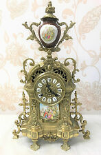 A Stunning Antique Style Vintage Brass & Porcelain Mantel Clock by Franz Hermele