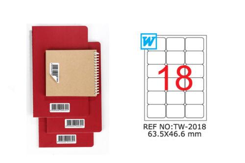 TANEX TW-2018 Hinweis label wiederablösbar weiß 63,5x46,6 runde Ecken 25 Bl A4