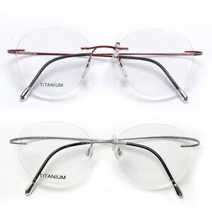 372bcdaf6f Image is loading Newest-Retro-Oval-Pure-Titanium-Glasses-Ultra-Light-
