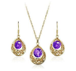 Gold-Purple-Cubic-Zirconia-Waterdrop-Pearl-Hollow-Set-Earrings-Necklace