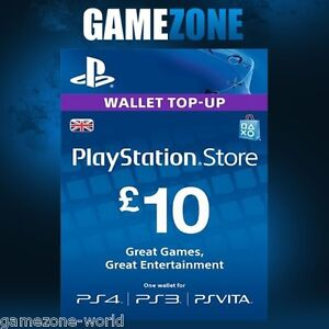 Details about PlayStation Network £10 GBP - 10 Pounds PSN Store Card Key -  PS4 PS3 PSP – UK