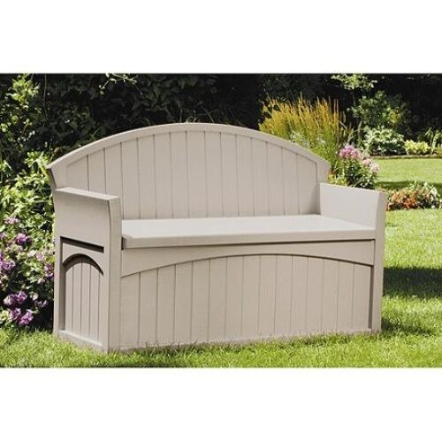 Suncast 50 Gallon Patio Bench - Suncast PB6700 50 Gallon Durable Resin Storage Outdoor Deck Patio