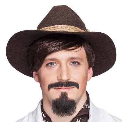 Cowboy Bart Set Mexikaner Männerbart Western Kinnbart Schnurrbart Sheriff Kostüm