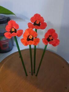"1 Art Glass Flower, Made in Italy Venetian Glass Figurines, 8-9"" Red Wild Flower"