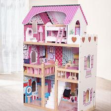 Modern Wooden Kids Dolls House Large Dolls House +17PCS Furniture Barbie Doll