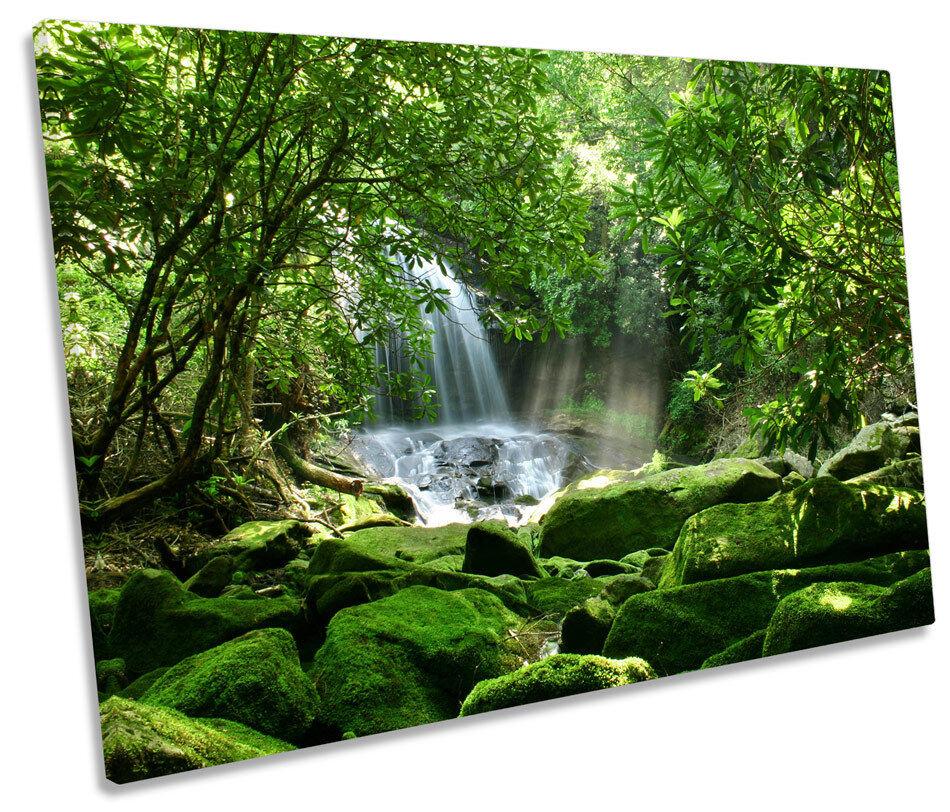 Foresta CASCATA SUNRISE TELA SINGOLA WALL ART PICTURE PICTURE PICTURE PRINT ac6e84