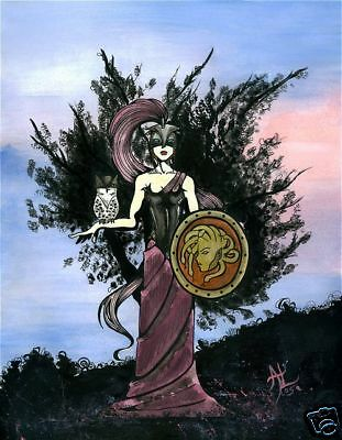 Gothic armored Athena w/ owl greek comic FANTASY ART 11x14   eBay