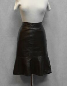 Auth-ADEC-2-by-PHILIP-ADEC-Espresso-Leather-Back-Snap-Zip-Peplum-Skirt-Size-10