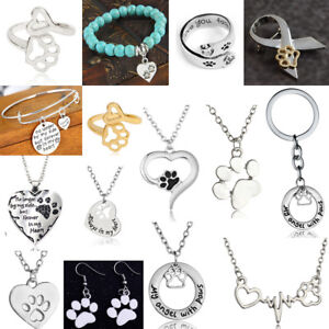 Silver-Paw-Print-Necklace-Jewellery-Bracelet-Keyring-Charms-Chain-Pendant-Gifts