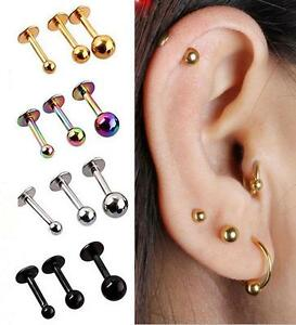 2x Ball Steel Tragus Nose Lip Monroe Ear