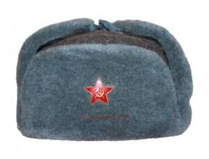 bc09e1cac4ba8 Cap Ushanka Military Winter Hat Soldier Russian Army Soviet Red USSR ...