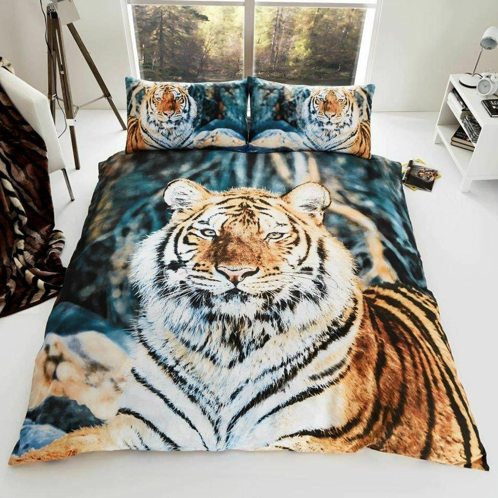 TIGER UK KING   US QUEEN UNFILLED DUVET COVER & PILLOWCASE SET - ANIMAL NEW