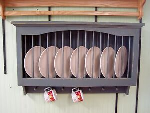 Plate-and-Mug-Cabinet-48-034-Solid-PIne-Wood-Rustic-Primtive-Plate-Display-Rack