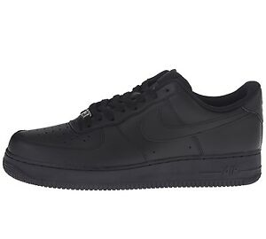 Details about Nike Air Force 1 '07 Mens 315122 001 Black Leather Low Shoes Sneakers Size 9