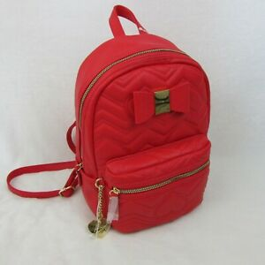 Betsey-Johnson-Red-Backpack-Stitch-Heart-amp-Bow-Design-Bag-78