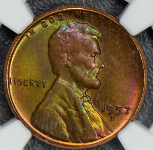 1957-D-Cent-NGC-MS65-RB-lincon-cent-stunning-green-and-purple-toning-NG0328-com