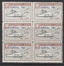 GUERNSEY-SARK COMMODORE: 1965 EUROPA opt on 4d aircraft AT 71 MNH block of 6