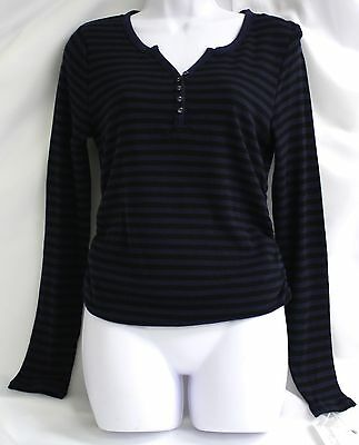 Liz Lange Maternity Shirt Black Blue Waffle Knit Top Striped Button Henley LS