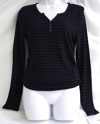 Liz Lange Maternity Shirt Black Blue Waffle Knit Top Striped Button Henley LS