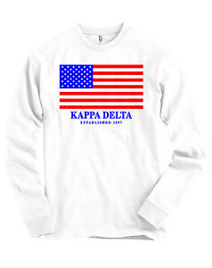 d801be4f Details about Kappa Delta USA Flag Bella + Canvas Long Sleeve T Shirt NEW