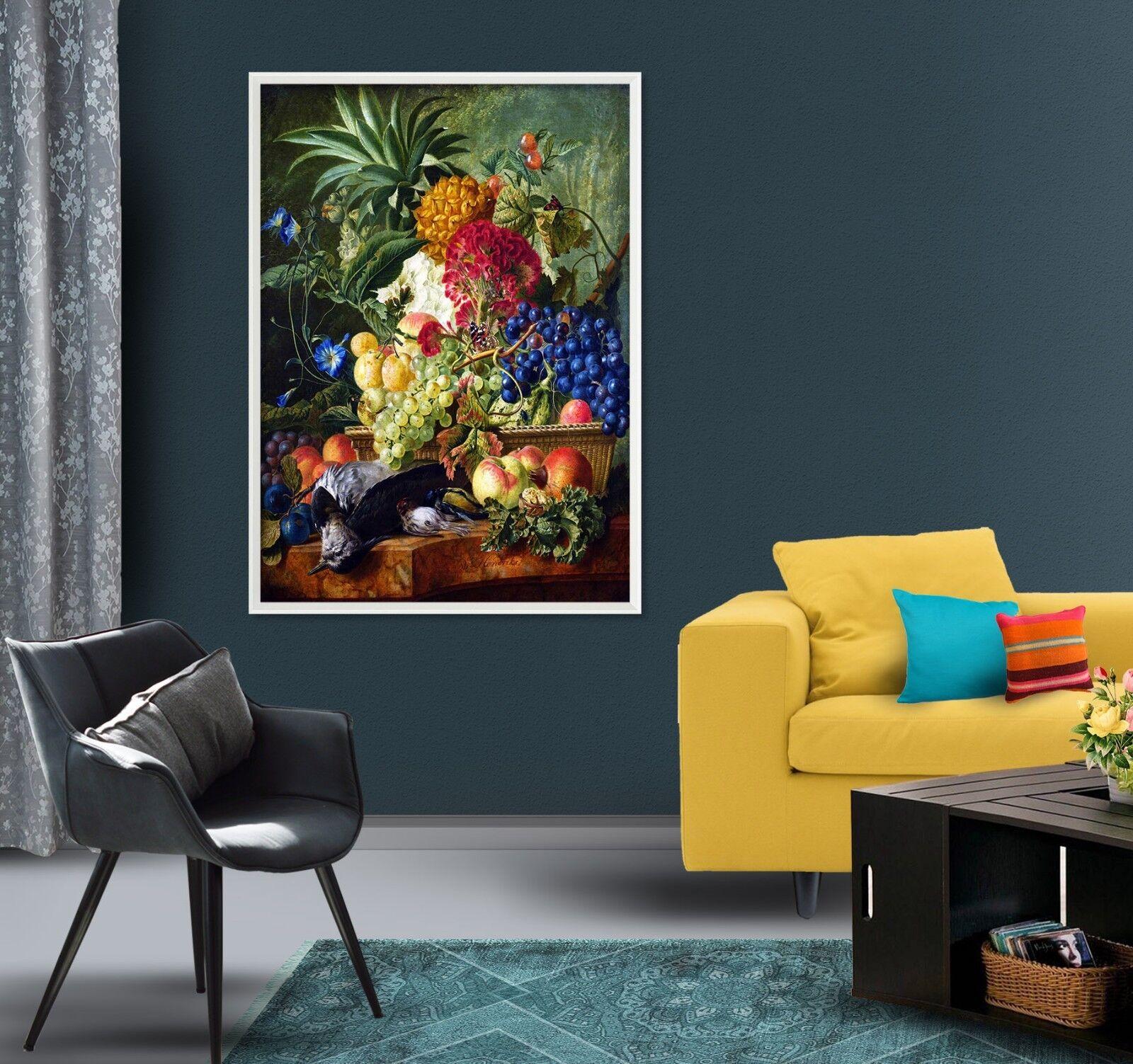 3D Fruit Flower Animal 3 Framed Poster Home Decor Print Painting Art WALLPAPER