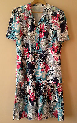 80s vintage patterned dress 16 - 18 new wave cruise