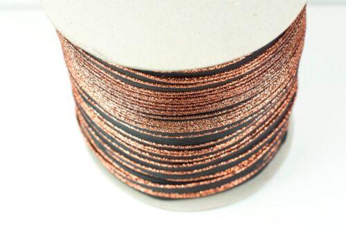Cable de tuberías de publicación de anuncios metálico bronce Lurex en cinta negra
