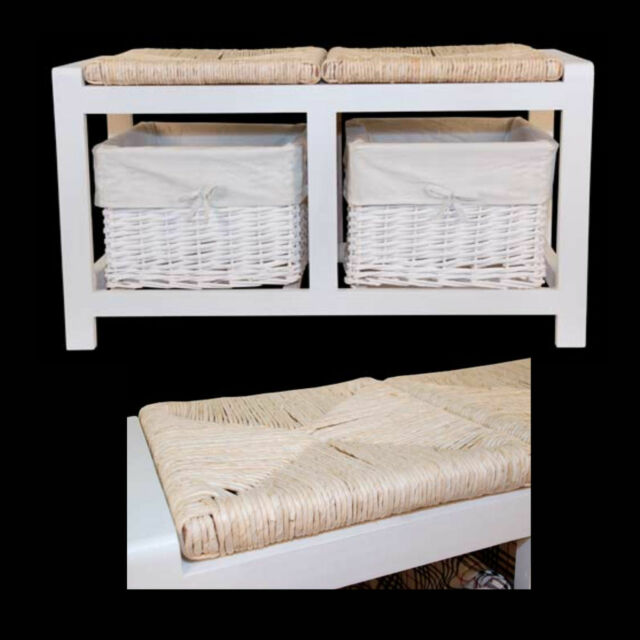 SHABBY CHIC WHITE BENCH 2 SEATER 2 WICKER BASKETS STORAGE UNIT WHITE WINDOW SEAT