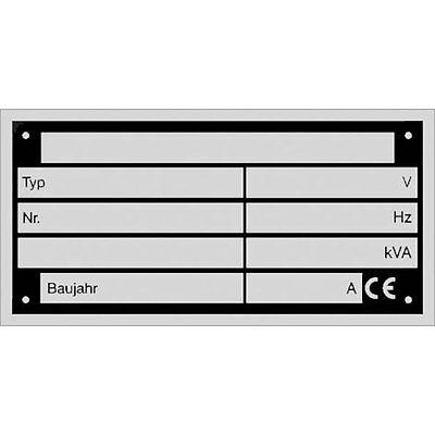 Typenschilder Maschinenschild  74 x 37 mm  Aluminium Leistungsschild