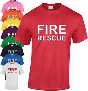 Fire Rescue Children's T Shirt Kid's Fancy Dress Tee Youth Top Fireman Costume