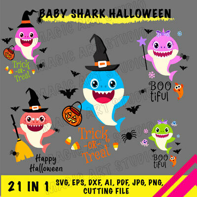 Bundle 21 In 1 Baby Shark Halloween Svg Eps Dxf Ai Pdf Png Cutting File Ebay