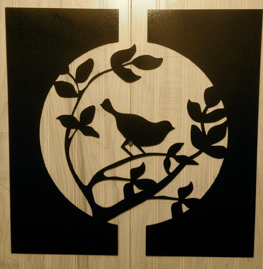 Metal Bird in a tree - Birds Wall Hanger - Metal Home Decor - Metal Wall Decor