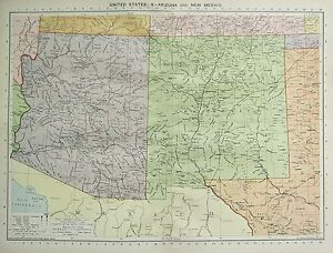 1934 Groß Karte ~ Vereinigte Staaten ~ Arizona & Neu Mexico