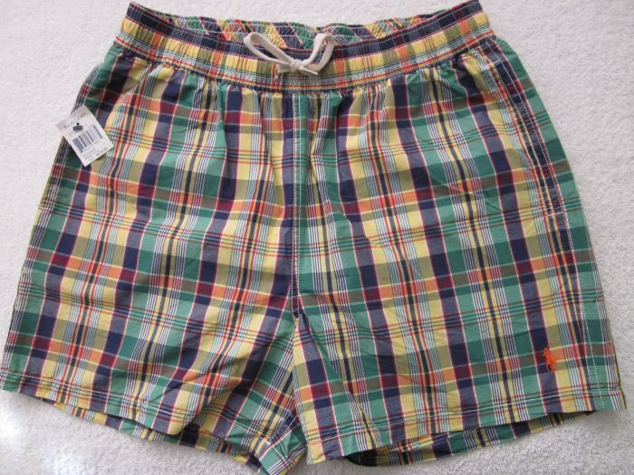POLO Ralph Lauren PLAID SWIM TRUNKS PONY NWT L