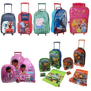 KIDS CHILDRENS BOYS GIRLS JUNIOR BAG CHARACTER WHEEL SCHOOL TRAVEL ... 920f193ecf