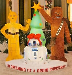 cheap for discount 9025c ffb84 Details about NEW 6 FT TALL GEMMY CHRISTMAS TREE STAR WARS CHEWBACCA C3PO  R2D2 LED INFLATABLE